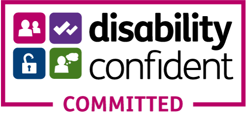 The Disability Confident Committed Logo, links to Gov website